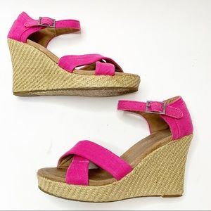 Toms Pink Wedge Sandals Size 7